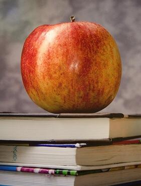 Ein Apfel auf einem Bücherstapel